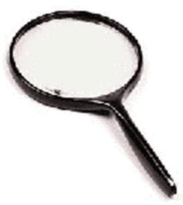 2.3X Hand Magnifier, 75mm Diam. Glass lens with Metal frame & ABS Plastic Handle