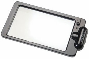 2X LED Mini-Sheet Hand Magnifier, 90 x 95mm. Fresnel with Stand.