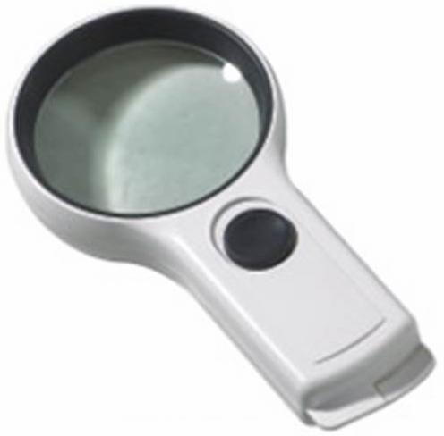 3X Illuminated Hand Magnifier, Easy Grip, Large 75mm Diameter.