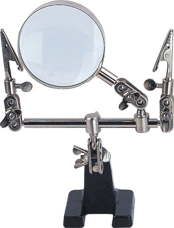 4X Working Clamp Bench Magnifier 57mm Diam. Lens, Articulated with two Crocodile Clips, Sturdy Stand