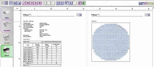 Filtrex Image Analysis Software for Fully Automatic Filtered Particle Counting and Sizing ISO16232
