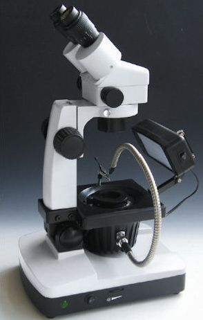 GXM-JW-H2, 7.5 -50X Binocular, Zoom Magnification, Gemological Microscope, Additional Illumination