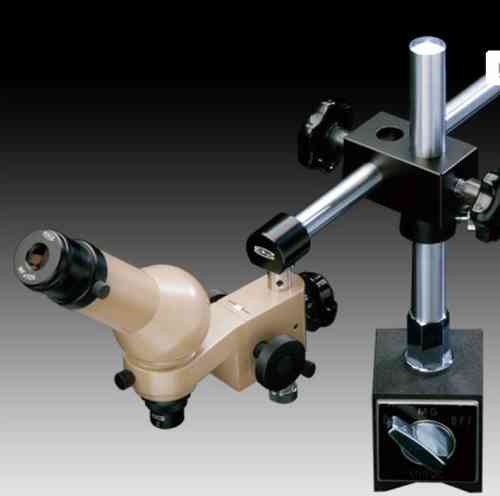 MMSYS-1 Microscope System. Angled Head, 20X, Magnetic Pillar Stand, Reticle. Options to 200X