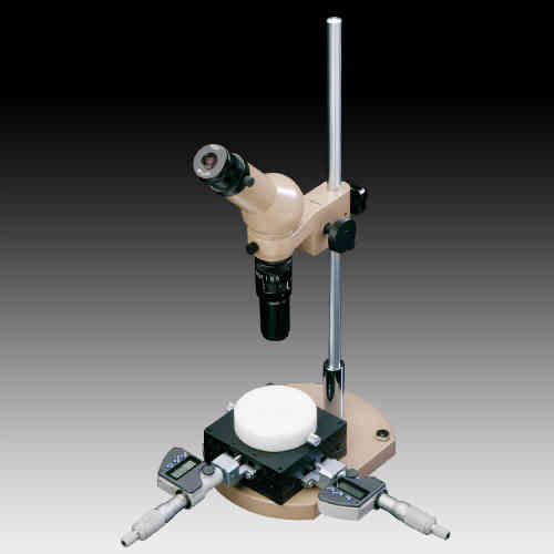 MMSYS-12 Microscope. Angled Head, 7X-45X Zoom on a Micrometer Pillar Stand, Options to 90X
