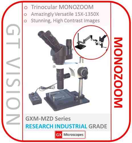 MZD Monozoom Microscope Series 15X-1350X, Trinocular, Coaxial LED, XY Stage, Stand, SELECT MODEL: