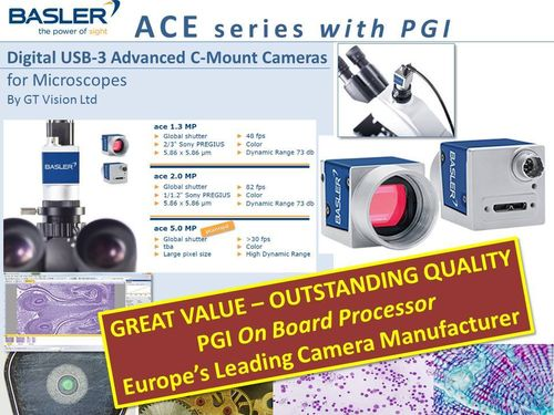 Basler ACE Series - Advanced USB-3 C-Mount  Microscopy Camera Series + PGI IProcessor + Software