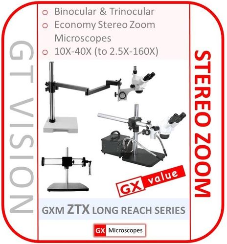 GXM-ZTX Series 10X - 40X Stereo Zoom Long Reach Microscope - GX VALUE RANGE