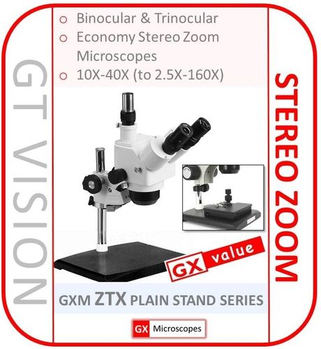 GXM-ZTX Series, 10X - 40X Stereo Zoom Microscope, No Built-In Illumination - GX VALUE RANGE