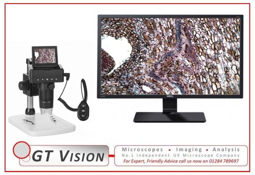 Portable 1080P HD Digital Microscope 10x - 220X, With Flip-Up Display