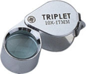 10X Hand Loupe Premium Magnifier, 17mm Diam. Triplet Lens, Metal Frame and Cover.