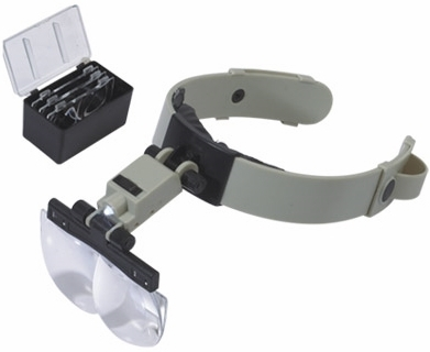 1.2X-3.5X Illuminated Head Mounted Magnifier with Interchangeable Lenses, Adj. Angle and Flip-up