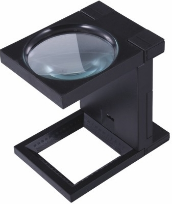 2.5X Triple LED, Linen Tester, Folding, Desk Magnifier, Large 107,mm Lens, Plastic Frame with Scale