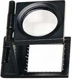 6X Linen Tester, Folding Pocket, Desk Magnifier, 25mm Diam. Doublet Lens, Metal Frame with Scale