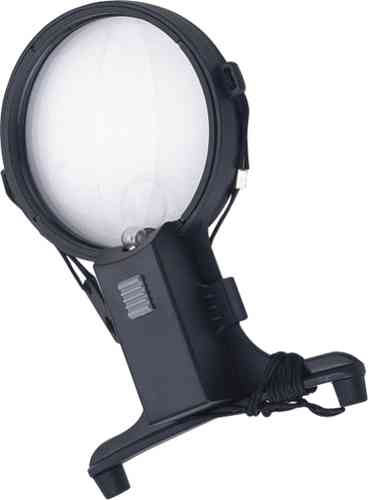 1.5X / 4X Illuminated, Hands-Free, Bifocal, Reading Aid, Neck Mounted Magnifier. 100mm Diam. Lens
