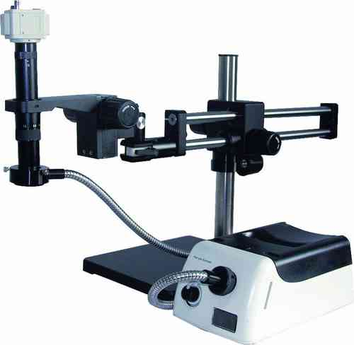 GXM-MZ4004, 20X - 135X, Complete Setup, MonoZoom Video Microscope, Fibre Optic Illuminator + Camera
