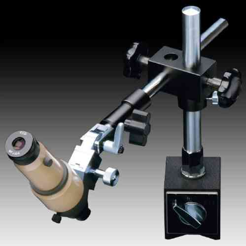 MMSYS-5 Microscope. Angled Head, 20X on Articulated Magnetic Pillar Stand, Reticle. Options to 200X
