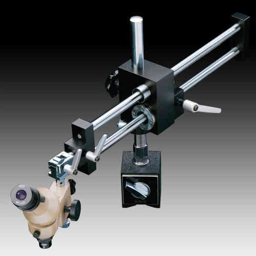 MMSYS-6 Microscope. Angled Head, 20X on Dual Arm Magnetic Boom Stand, Reticle. Options to 200X