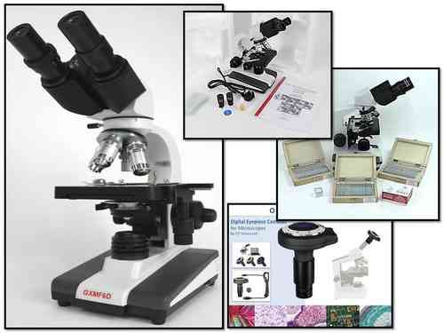 Amazing Value Binocular Microscope + 250 slides, 1000 coverslips, 90+ Prepared Slides +3MP Camera!