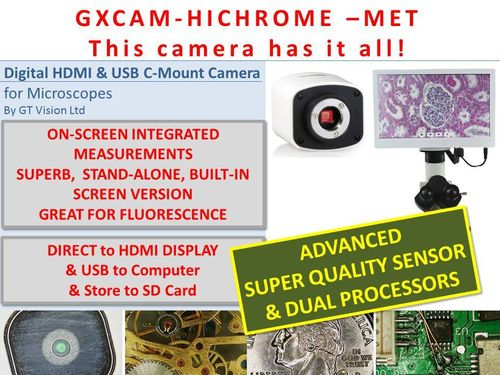 GXCAM HICHROME-MET Multi-Output HDMI/USB/SD Top Quality Camera Series with Measurements and Software