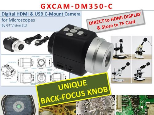 GXCAMDM350-C Unique BACK-FOCUS, 3.5MP, HDMI and TF Card C-Mount Camera