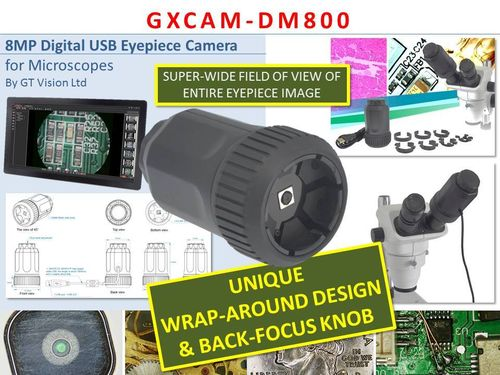 GXCAM-DM800 Unique Wrap-Around 8MP AUTOFOCUS USB, Camera + Back Focus Knob, GXCapture-O Software