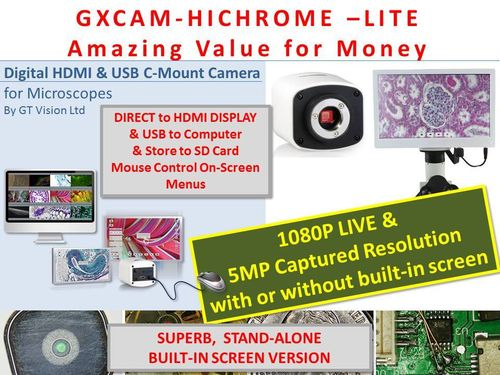 GXCAM HICHROME-LITE Multi-Output HDMI/USB/SD Routine Camera Series with Software