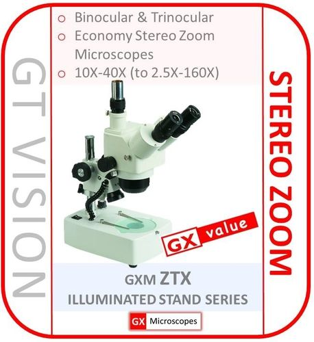 GXM-ZTX Series 10X - 40X, Stereo Zoom Microscope, Built-in Illumination - GX VALUE RANGE