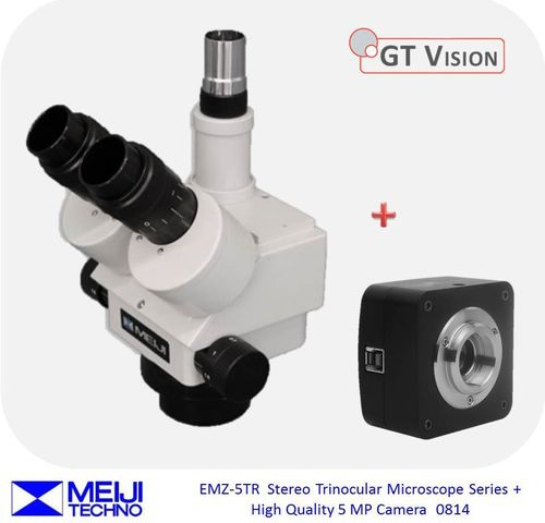 Meiji EMZ-5TR Stereo Zoom Trinocular Microscope Series + High Quality 5 MP Digital Camera