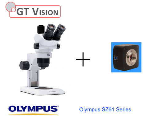 Olympus SZ61 Trinocular Stereomicroscope and Scientific Camera. Choice Of Stands- see below