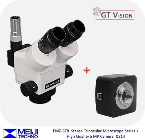 Meiji EMZ-8TR Stereo Zoom Trinocular Microscope Series + High Quality 5 MP Digital Camera