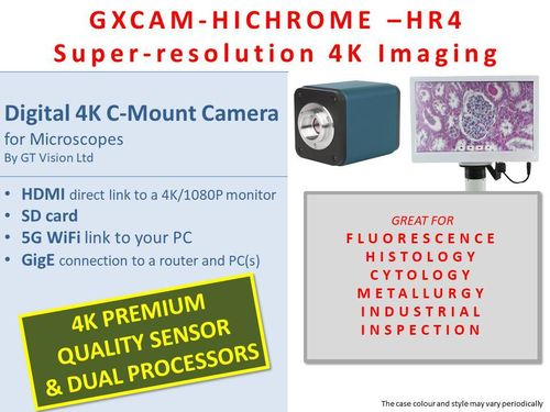 GXCAM HICHROME-HR4 HDMI/SD/WiFI/GigE 4K Premium Microscopy C-Mount Camera