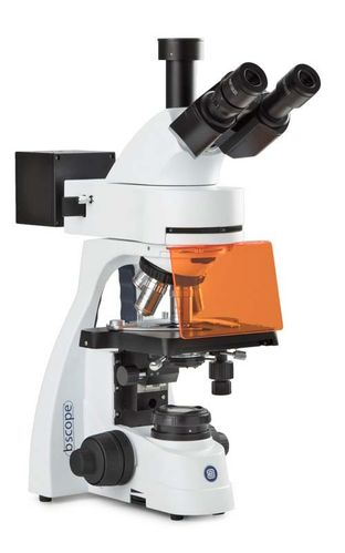 bScope trinocular fluorescence microscope, E-plan 4/10/40/100x objectives LED excitation