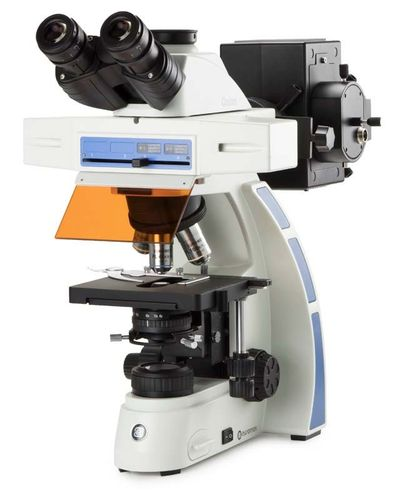 Oxion trinocular fluorescence microscope plan Fluarex 4/10/40/100x objectives Hg vapour excitation