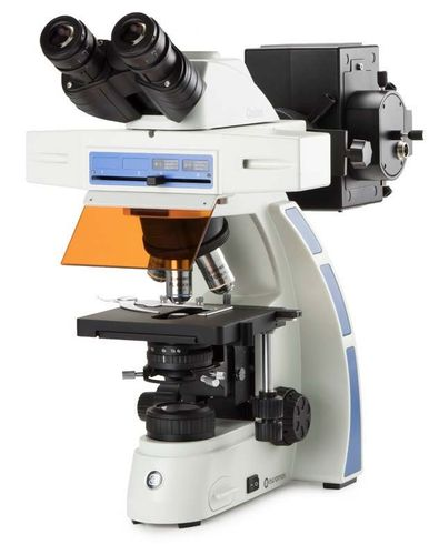 Oxion binocular fluorescence microscope plan SApo Fluarex 4/10/40x objectives Hg vapour excitation