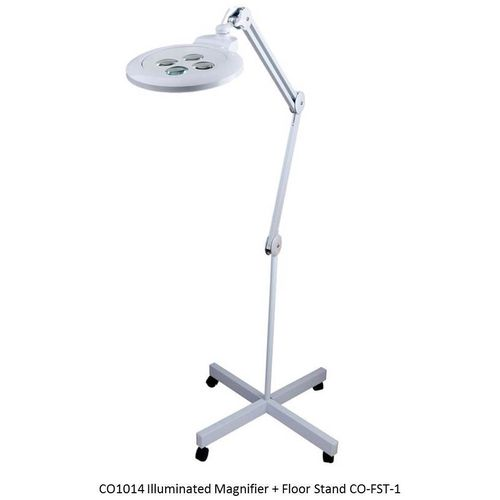 MULTI-MAG Unique Illuminated Magnifier - 4 Magnification Turret 3X, 3.5X, 4X, 4.75X + Floor Stand