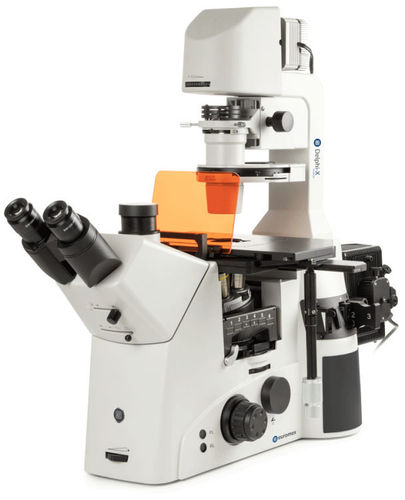 Delphi-X Inverso fluorescence inverted microscope 10/20/40x objectives halogen illumination