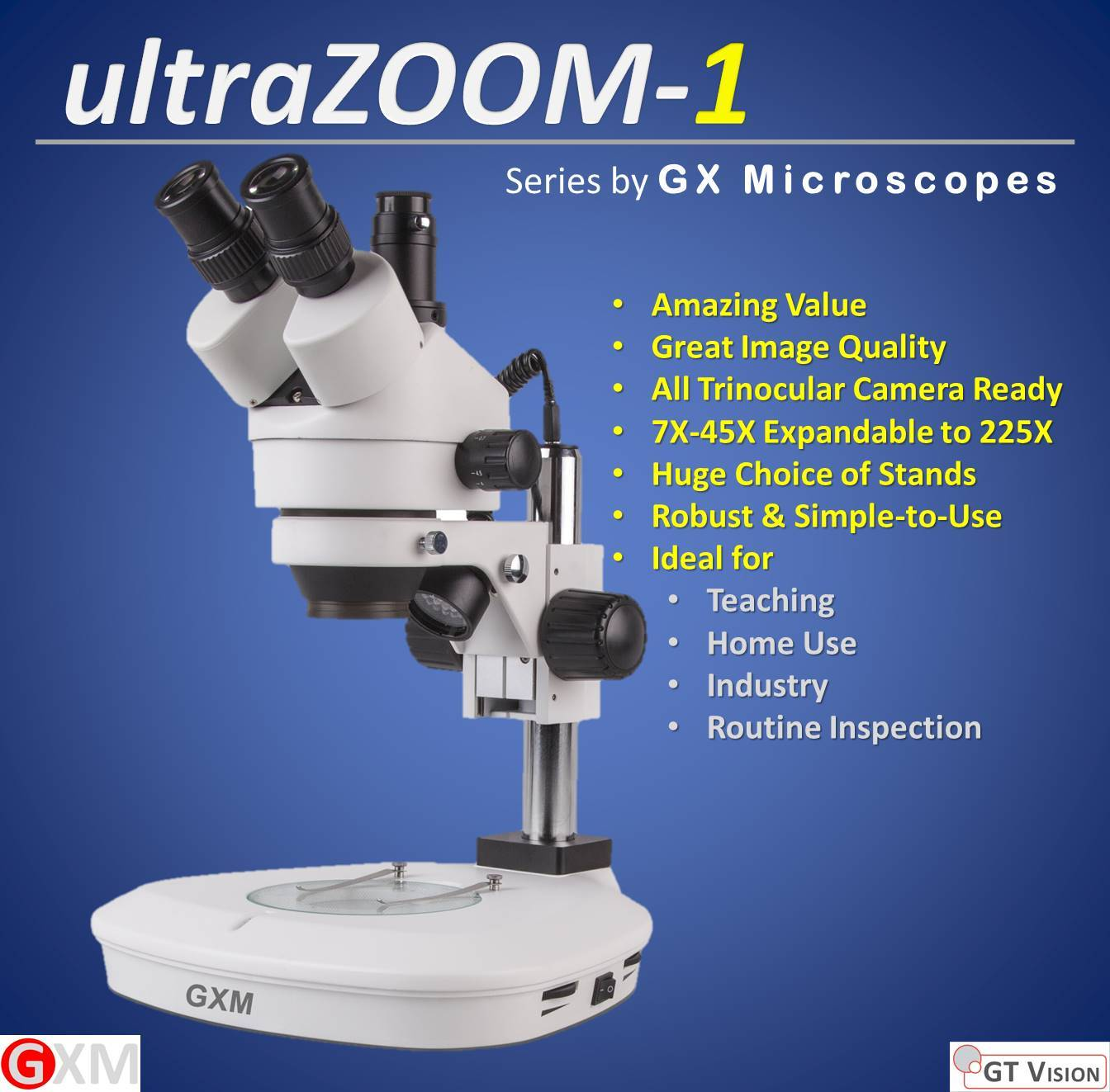 ultraZOOM-1 Stereo Zoom Microscope by GT Vision