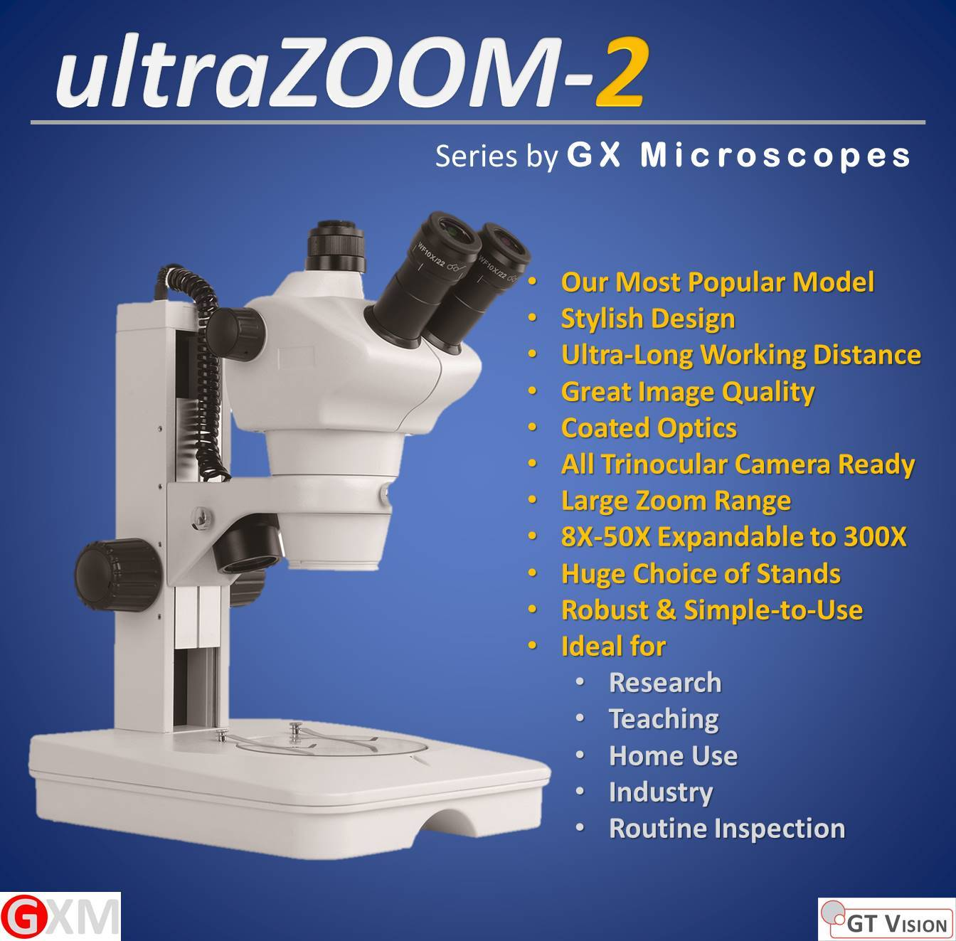 ultraZOOM-2 Stereo Zoom Microscope by GT Vision