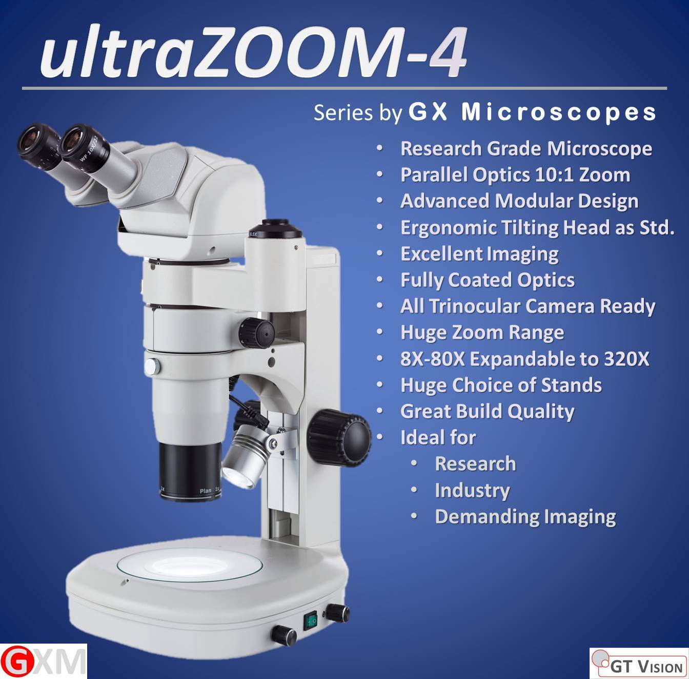 ultraZOOM-4 Stereo Zoom Microscope by GT Vision