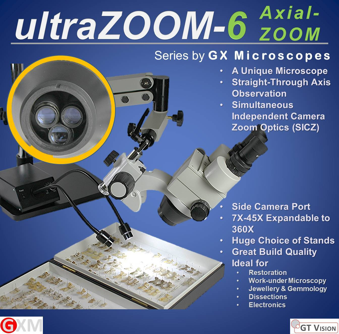 UltraZoom-6 Axial Zoom Stereo Zoom Microscope GX Microscopes by GT Vision Ltd
